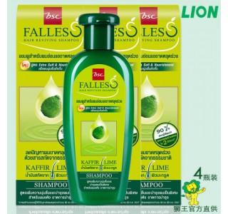 泰国 bsc Falless无硅油萃取莱姆精华防脱干性洗发水180ml X4瓶装 包税,包邮
